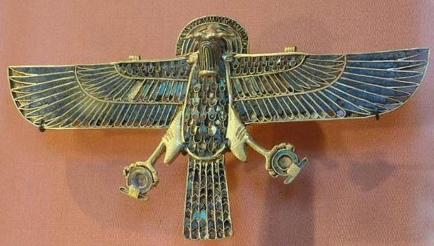 Amulet representing a ram-headed falcon. Ancient Egypt, 1254 BC (26th year of the reign of Ramses II, XIXth Egyptian dynasty), found on the mummy of an Apis bull in the Serapaeum of Memphis at Saqqara.