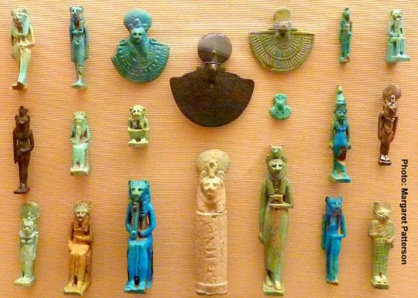 Amulets of the goddesses Sekhmet, Bastet and Taweret were popular among women in ancient Egypt as they represented magical protection and well-being—especially during childbirth. Many such objects were recovered from Amarna too. Ashmolean Museum, Oxford.