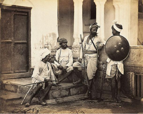An 1860s photograph of Rajputs, classified as a high Hindu caste.