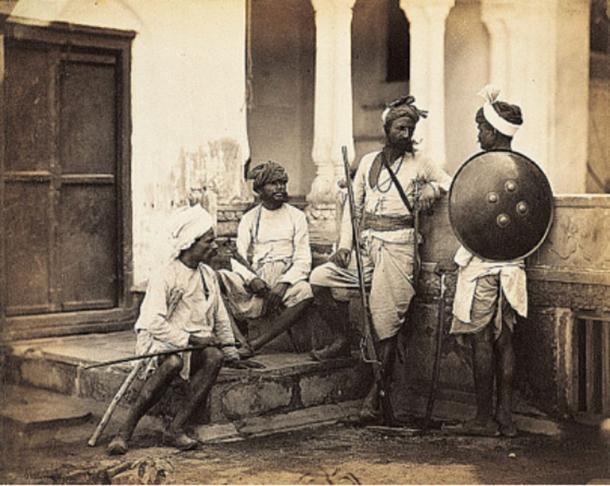 An 1860s photograph of Rajputs, classified as a high Hindu caste.