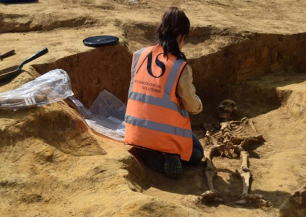 An Archaeological Solutions expert excavates a burial (Archaeological Solutions)
