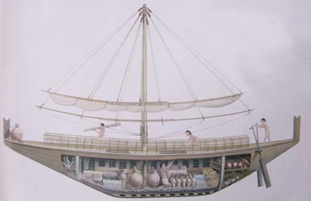An Egyptian merchant ship. (Ancient Egypt Wikia) Note the carrying capacity.