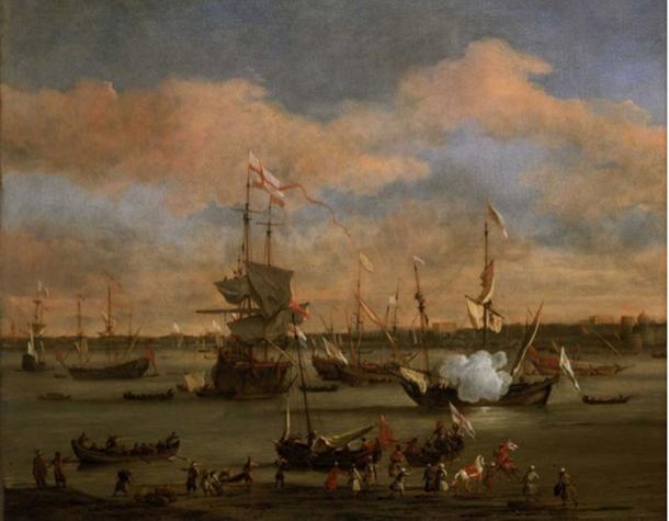 An English Merchant Ship in a Mediterranean Harbour by Willem van de Velde the Younger (Public Domain)