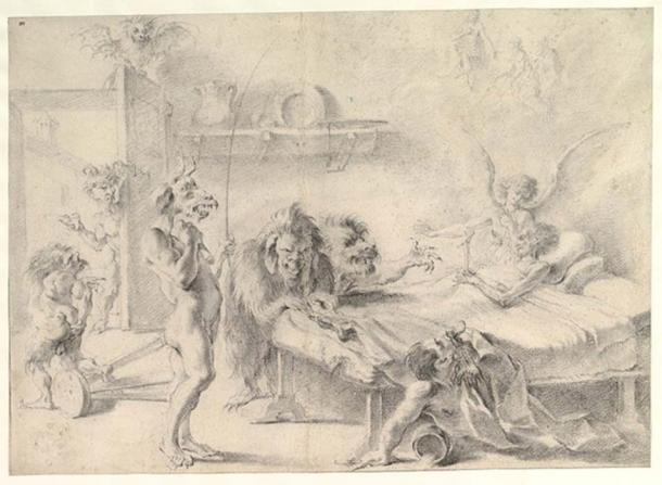 'An Old Man on His Deathbed Tempted by Demons' (1675-1749) by Aureliano Milani. (CC0)