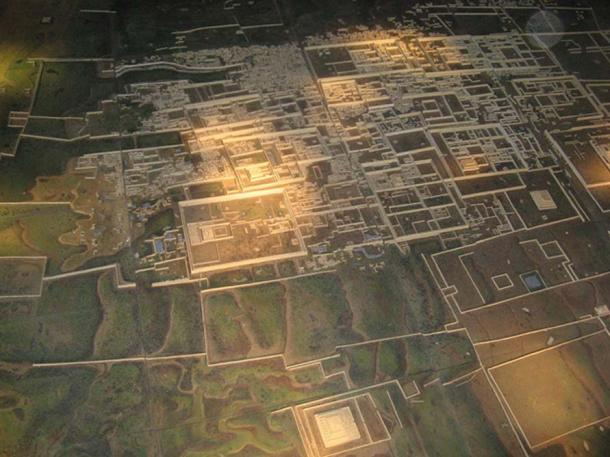An aerial model of the city shows just how large it was at its peak
