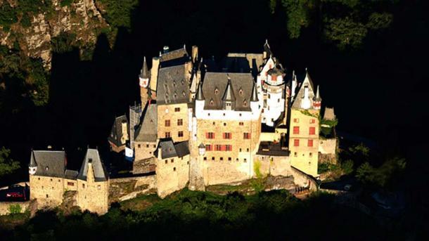 An aerial view of Eltz Castle.