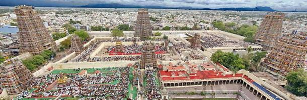 An aerial view of Madurai city from atop of Meenakshi Amman temple.