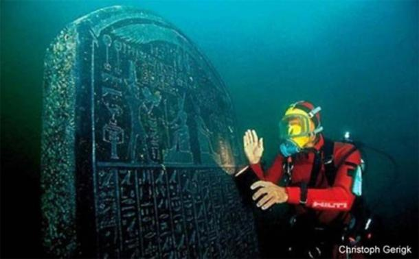 An amazingly well-preserved 1.9-metre-tall Heracleion stele commissioned by Nectanebo I in 378 - 362 BC, complete with detailed and clearly readable inscriptions. (Cristoph Gerigk)