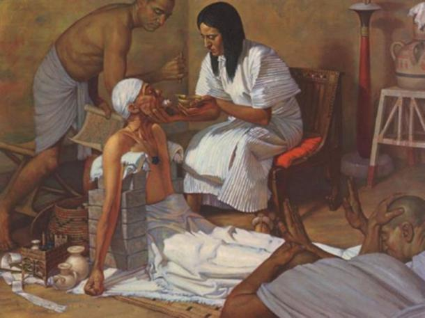 An ancient Egyptian doctor and patient. (Crystalinks)
