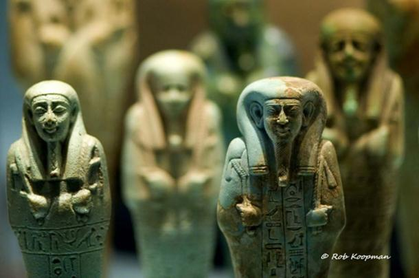 An army of funerary servant figurines made of faience stand guard, ready to do their master's bidding in the Afterlife. The number of shabtis in a burial reflected the owner's status and prestige whilst alive. Rijksmuseum van Oudheden, Leiden.