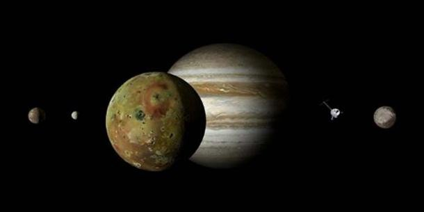 An artistic representation of Jupiter and its moons. (CC0)