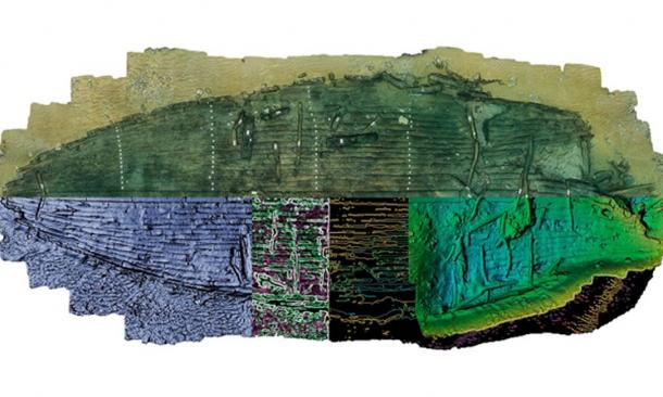 An artistic treatment of the discovered new Egyptian shipwreck that marine archaeologists found. The upper half of the model illustrates the wreck as excavated. Below this, unexcavated areas are mirrored to produce a complete vessel outline. (Christoph Gerigk/Franck Goddio / Hilti Foundation)