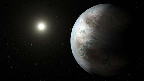 An artist's concept depicting one possible appearance of the planet Kepler-452b, the first near-Earth-size world to be found in the habitable zone of star that is similar to our sun. (Public Domain)