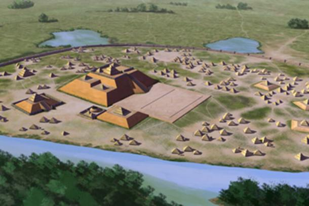 An artist's conception of the Etowah site, 9BR1, a Mississippian culture archaeological site located on the banks of the Etowah River in Bartow County, Georgia. Built and occupied in three phases, from 1000–1550 AD. (Herb Roe / CC BY-SA 4.0)