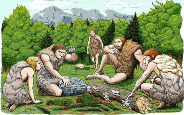 An artist's impression of the El Sidron Neanderthals who were likely gathering much of their food, rather than hunting large game. (CSIC Spain)