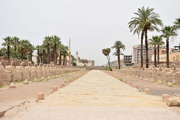An avenue of human headed sphinxes of over one and a half miles (3 km) once connected the temples of Karnak and Luxor