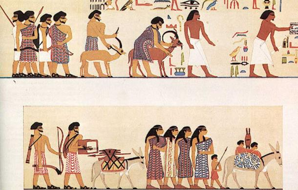 An earlier group of Asiatic peoples depicted entering Egypt c. 1900 BC, from the tomb of a Twelfth Dynasty official Khnumhotep II under pharaoh Senusret II at Beni Hasan. (free license)