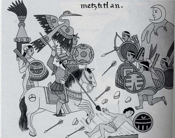 An encounter between Spanish and Aztec combatants as depicted in the 'History of Tlaxcala'. (Public Domain)