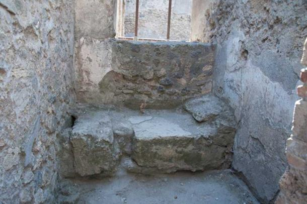 An excavated brothel room in Pompeii.