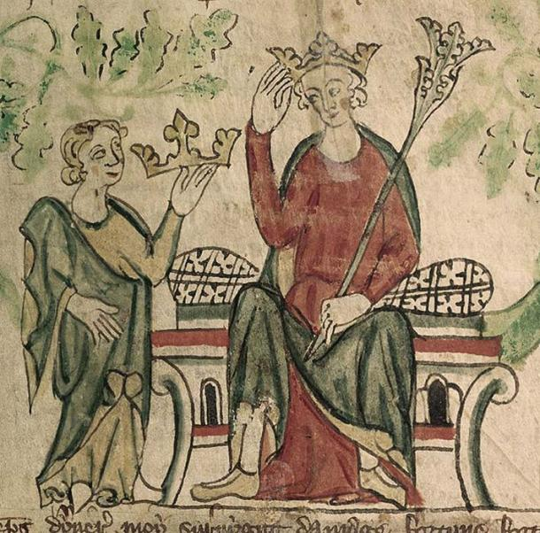 An illuminated detail from BL Royal MS 20 A ii, 'Chronicle of England' [folio 10], showing Edward II of England receiving his crown. (Public Domain)