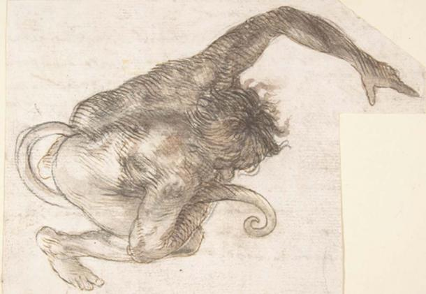 An illustration depicting a human-like creature with a tail (public domain)