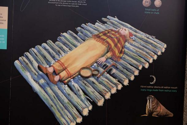 An illustration reconstructing one of the human burials and grave goods found in one of the tombs at Carrowmore. (Image: Ioannis Syrigos)