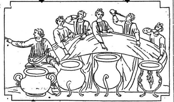 An illustration in a 1916 edition of The Washington Post got the myth slightly wrong, showing bowls at the meal rather than a separate room. Author provided.