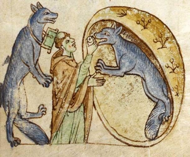 An illustration from 'Topographia Hiberniae' depicting the story of a traveling priest who meets and communes a pair of good werewolves from the kingdom of Ossory.