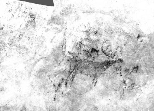 An image of a deer created through photometric techniques from the El Rejo cave in Cantabria.