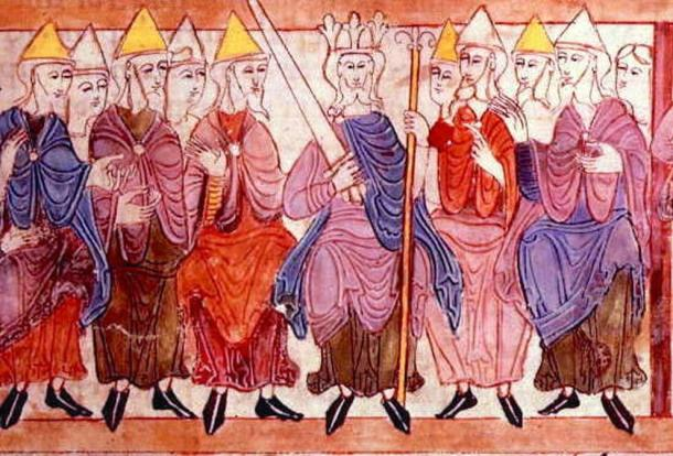 An image of a king and his witan (royal council) - from the 11th-century Old English Hexateuch. (Public Domain)
