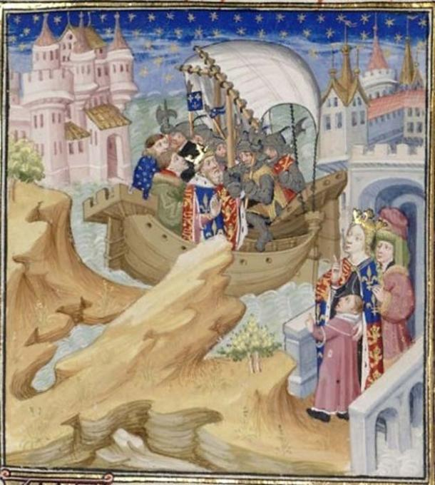 An imaginative medieval interpretation of Edward's arrest by Isabella, seen watching from the right. (Public Domain)