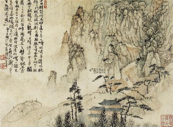 An ink painting depicting Huangshan in China, by Shitao, 1670.