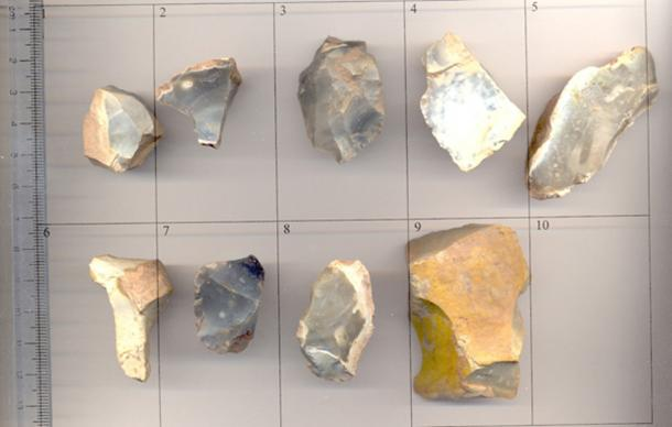 An representative image of an assortment of 9 flint tools of various dates during the prehistoric period. Image: CC BY-SA 2.0