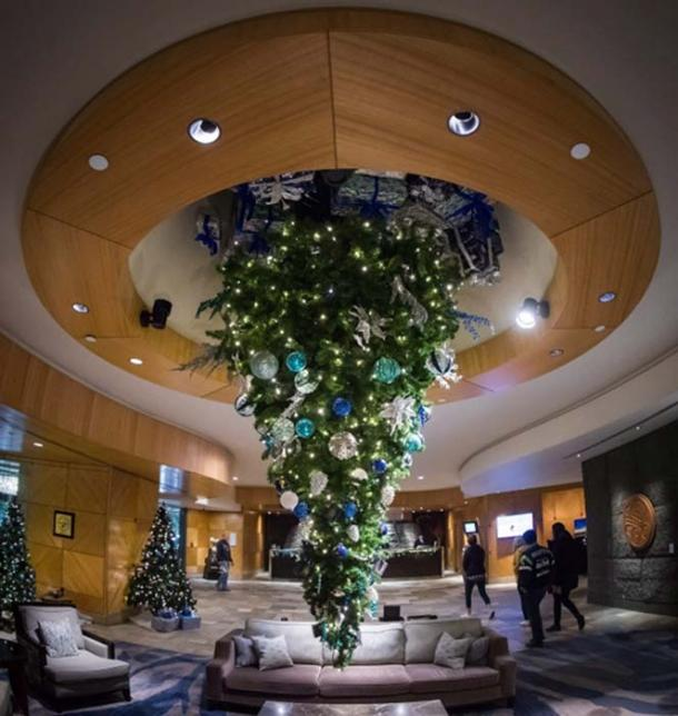 An upside-down Christmas tree is suspended from the ceiling at the Fairmont Vancouver Airport hotel in Richmond, B.C