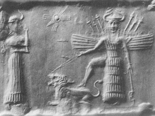 Ancient Akkadian cylindrical seal depicting Mesopotamian love goddess Inanna. (Public Domain)
