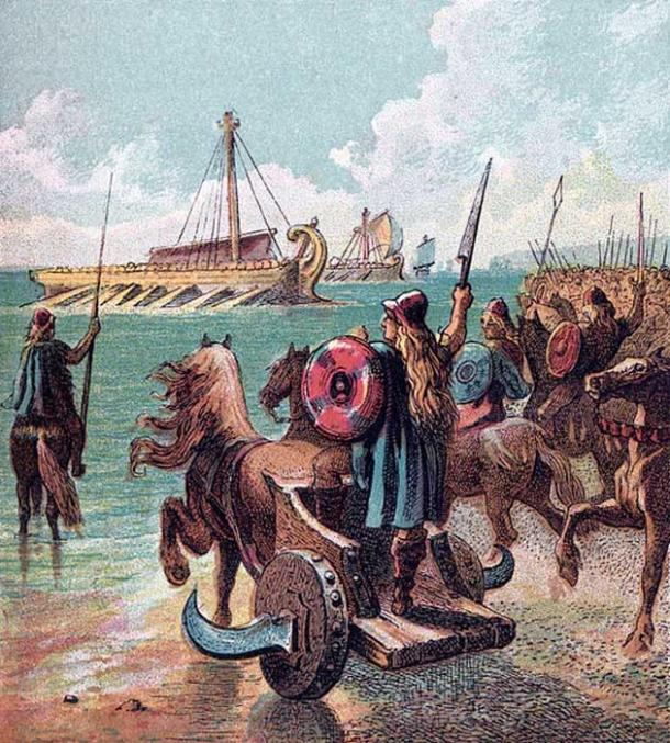 Ancient Britons oppose the Roman landings