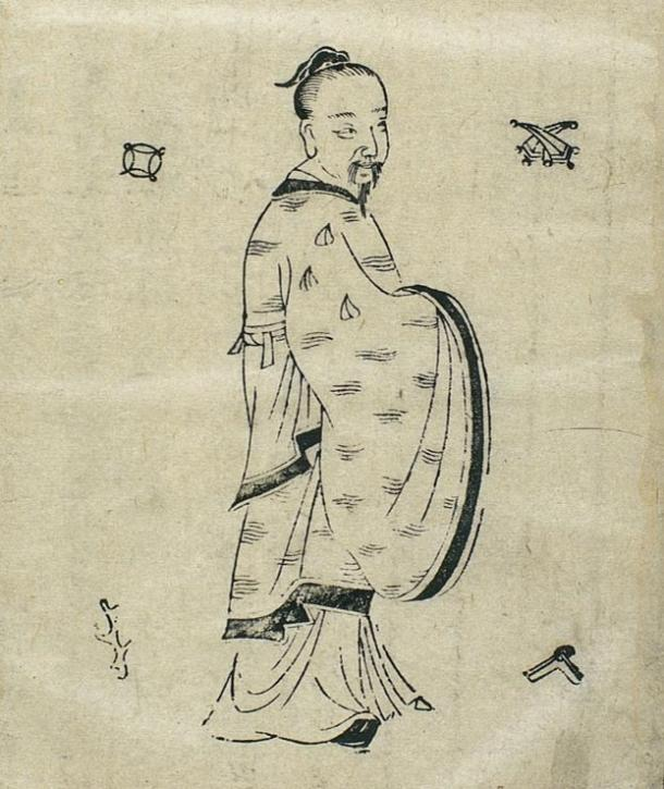 Ancient Chinese doctor Huangfu Mi, 16th century AD woodcut