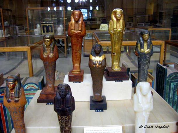 "Ancient Egyptian burials consisted of anywhere between two, and, in pharaonic tombs, around a thousand shabtis. It was believed that these ""Answerers"" would carry out tasks on behalf of the deceased in the Hereafter. A superb display of exquisite figurines from different periods, produced from various materials. Egyptian Museum, Cairo."