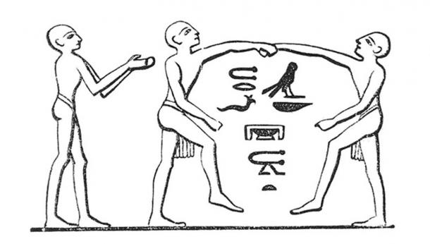 Ancient Egyptian depiction of two wrestlers, circa 2000 BC. (Public Domain)
