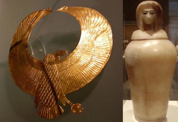 Ancient Egyptian royal vulture pectoral and an Egyptian alabaster canopic Jar depicting a likeness of an Amarna-era Queen, from tomb KV55