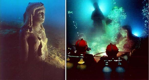 Ancient Egyptian statues found beneath the waves of Alexandria's Eastern Harbor. (Credit: The Hilti Foundation)
