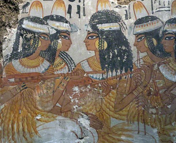 Ancient Egyptian tomb painting depicting lute players, 18th Dynasty (circa1350 BC) (Public Domain)