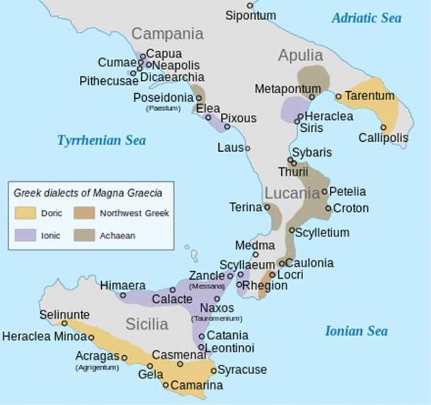 Ancient Greek colonies and their dialect groupings in Southern Italy (Magna Graecia).