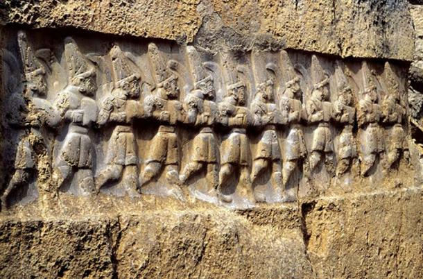 Ancient Hittite relief carving from Yazılıkaya, a sanctuary at Hattusa, depicting twelve gods of the underworld, whom the Hittites identified as the Mesopotamian Anunnaki