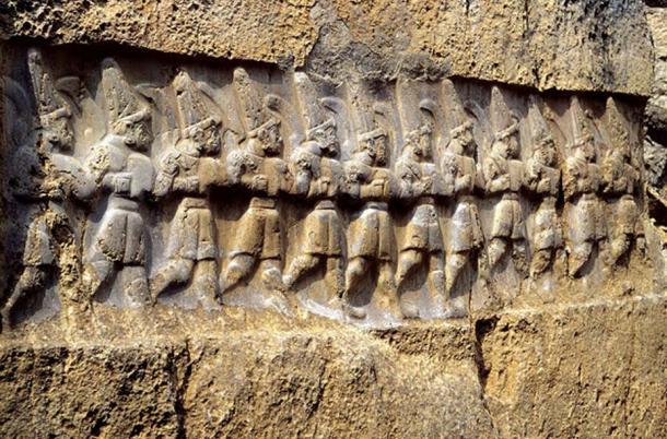 Ancient Hittite relief carving from Yazılıkaya, a sanctuary at Hattusa, depicting twelve gods of the underworld, whom the Hittites identified as the Mesopotamian Anunnaki