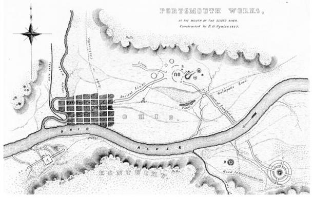 Portsmouth, Ohio Earthworks, from Ancient Monuments of the Mississippi Valley