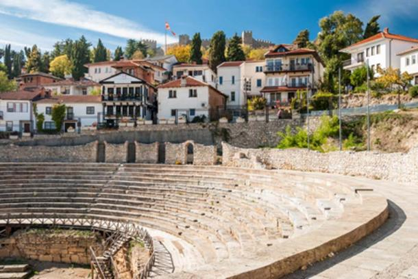 Ancient Roman Theatre against Samuel's Fortress in Ohrid, Macedonia (mrotchka / Adobe Stock)