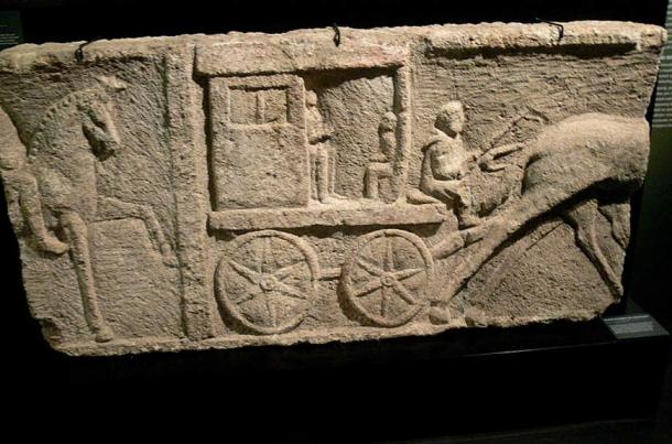 Funeral relief (2nd century ) depicting an Ancient Roman carriage.