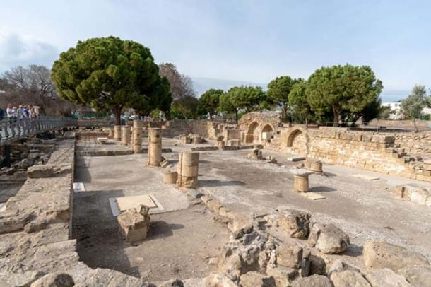 Ancient Roman ruins that remain around the old church site in Paphos