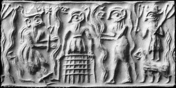 Ancient Sumerian cylinder seal impression showing Dumuzid being tortured in the Underworld by the galla demons. (Public Domain)